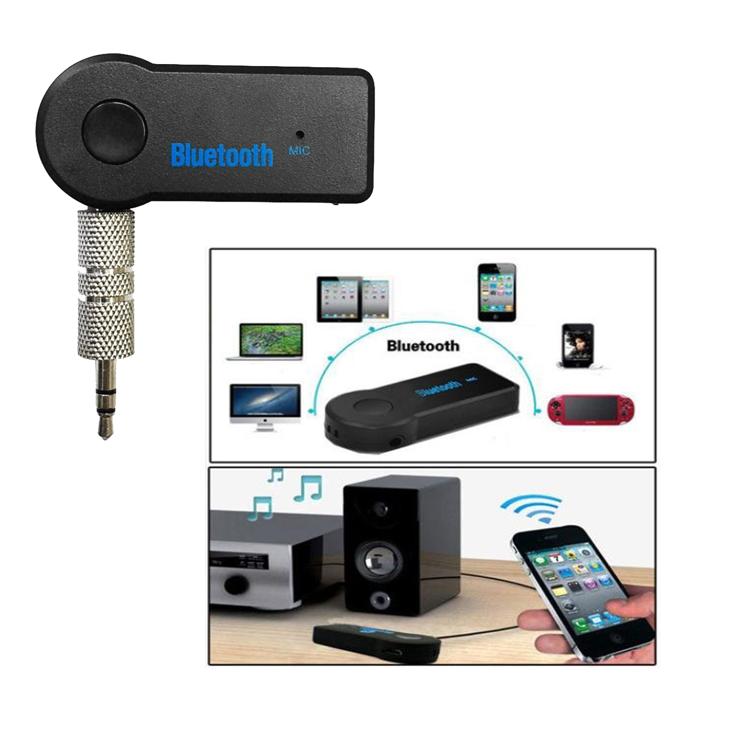 bluetooth aux audio transmitter with mic. Black Bedroom Furniture Sets. Home Design Ideas